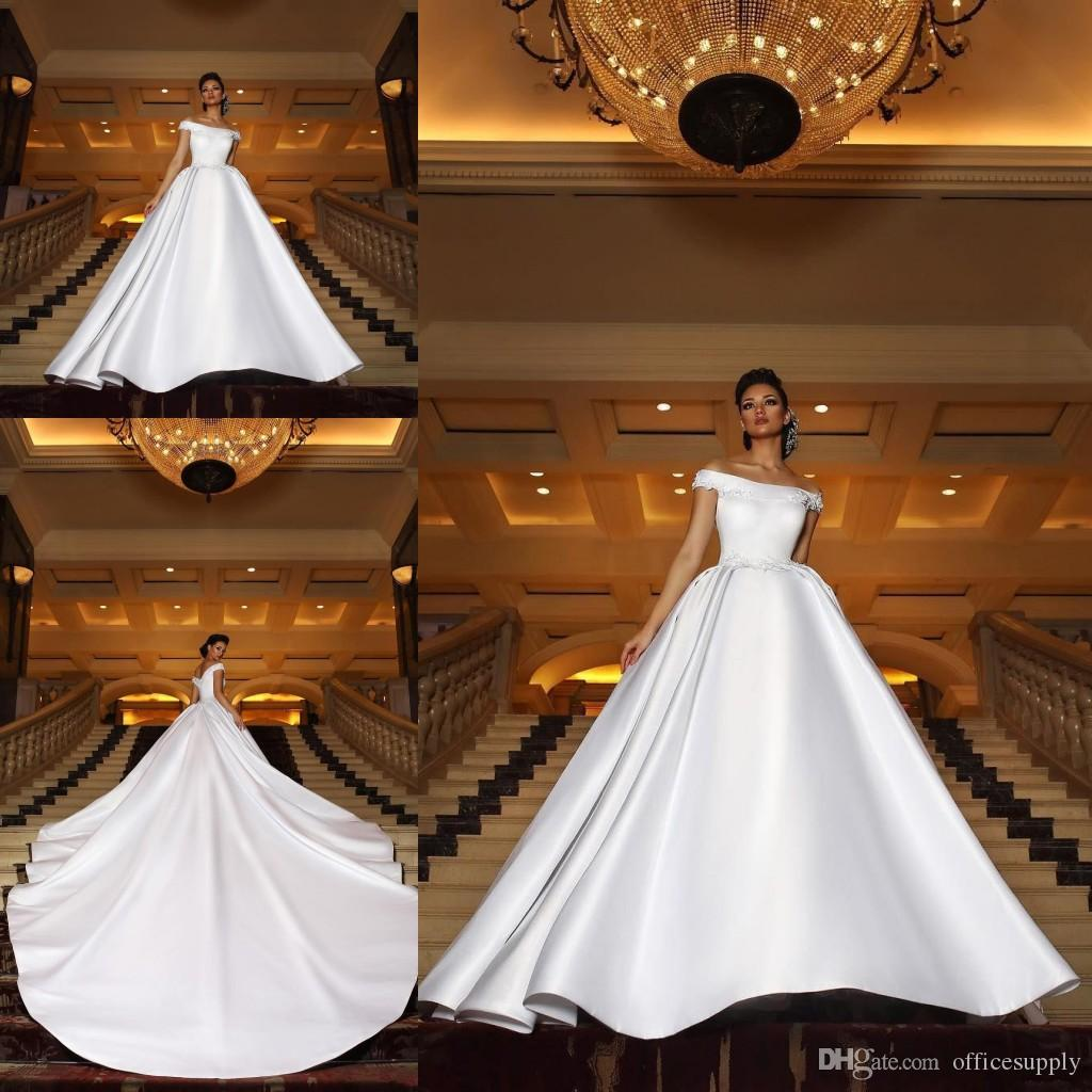 eead09c1c6d Discount 2019 New Gorgeous Arabic Wedding Dresses Long Train Off The Shoulder  Lace Appliques Plus Size Bridal Gowns Wedding Dress Shop Online Wedding ...