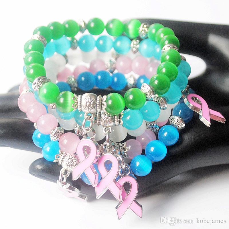Nueva pulsera del encanto de la cinta rosa del encanto del cáncer de pecho del ojo del gato del ópalo pulsera de los granos de 8m m brazalete