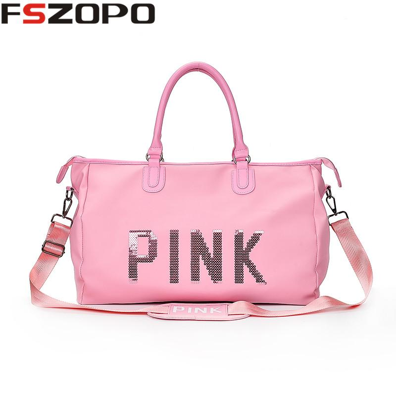 5d0486020a 2019 Pink Portable Outdoor Shoulder Bag Sport Gym Bags For Women Men  Fitness 2018 Waterproof Sport Duffle Bags From Curtainy