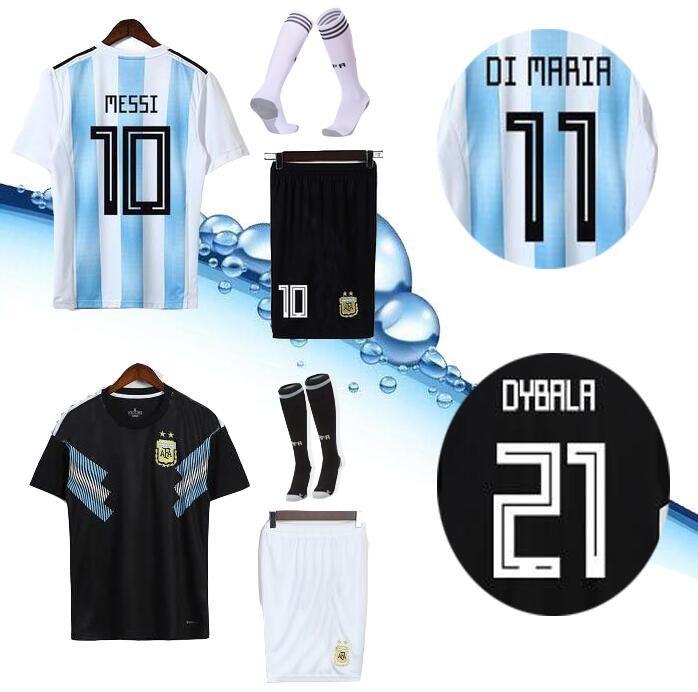 b25f8f92e9f AAA+2018 Argentina World Cup MESSI DYBALA Argentina Adult kit home Away soccer  jersey AGUERO DI MARIA HIGUAIN 2018 home football shirts