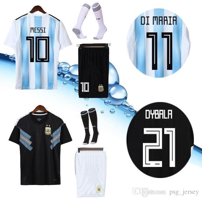 8132ea9840 Compre AAA + 2018 Copa Do Mundo Argentina MESSI DYBALA Argentina Adulto  Casa Kit Camisa De Futebol AGUERO DI MARIA HIGUAIN 2018 Camisas De Futebol  Em Casa ...