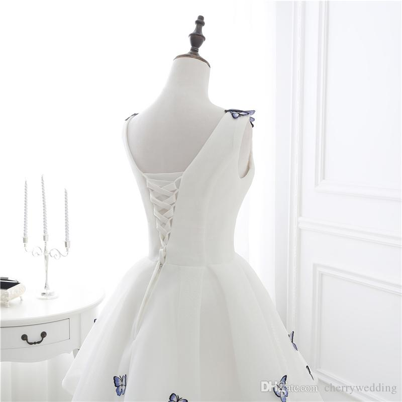 Wedding Dresses Bridal Gowns V Neckline Corset Lace up Back Butterfly Appliques Sexy Wedding Gowns CMW0002