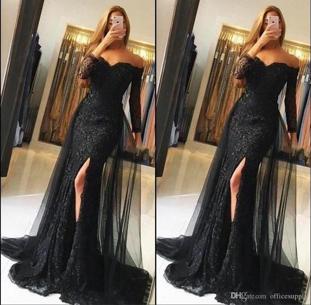 Black Lace Prom Dresses 2018 Off Shoulder Long Sleeves Mermaid ...