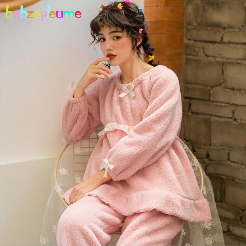 a12a03f9a4ebb Acheter Automne Hiver Vêtements De Nuit Vêtements De Maternité Doux  Flanelle Tops Manches Longues + Pantalons Allaitement Pyjama D allaitement  BC1809 1 De ...