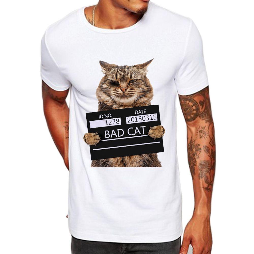 be3295db4 Men's Bad Cat Women Dept Print T -Shirt Cool Cat T Shirt Men Summer White T  Shirt Hipster Tees La062 Mens Summer Clothing