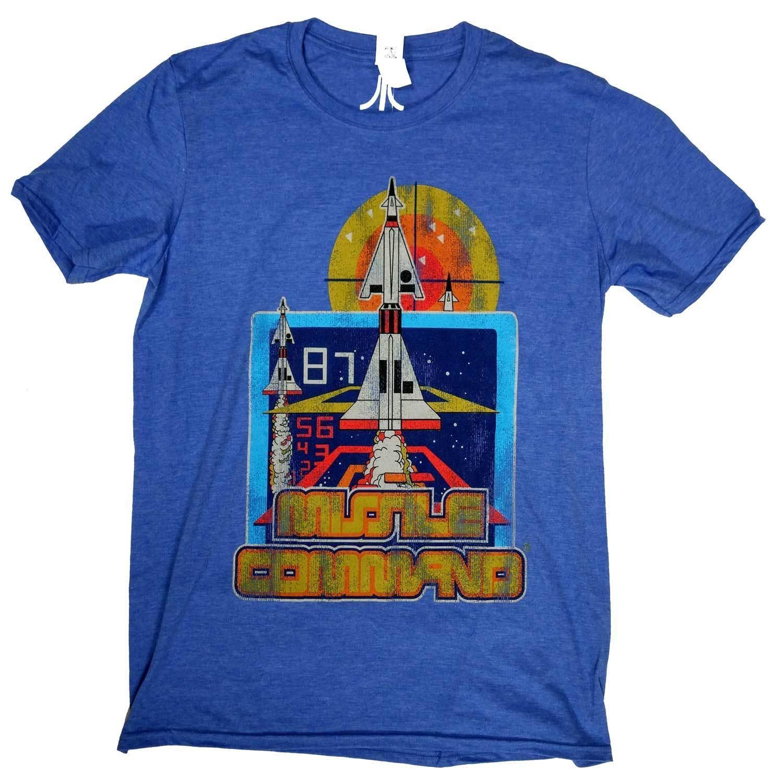 Atari T Shirt Missile Command 100% Official Blue Retro Gaming ... on berzerk atari, defender atari, solaris atari, combat atari, astroblast atari, adventure atari, bosconian atari, plaque attack atari, wizard of wor atari, mappy atari, breakout atari, pacman atari, e.t. the extra-terrestrial atari, aquaventure atari, fatal run atari, warlords atari, pepsi invaders atari, space invaders atari, pele's soccer atari, space war atari,