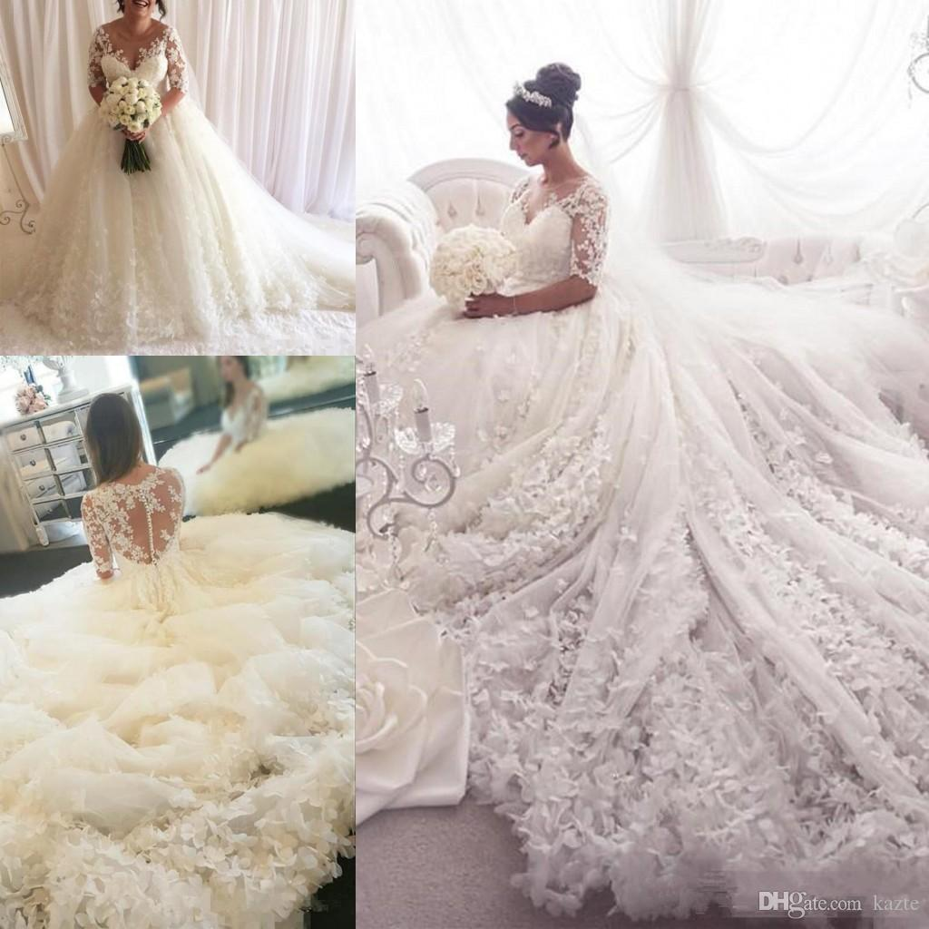 Princess Plus Size Wedding Dresses with Long Sleeve 2018 Modest Luxury Fully 3D Floral Butterfly Dubai Arabic Muslim Hijab Wedding Gown