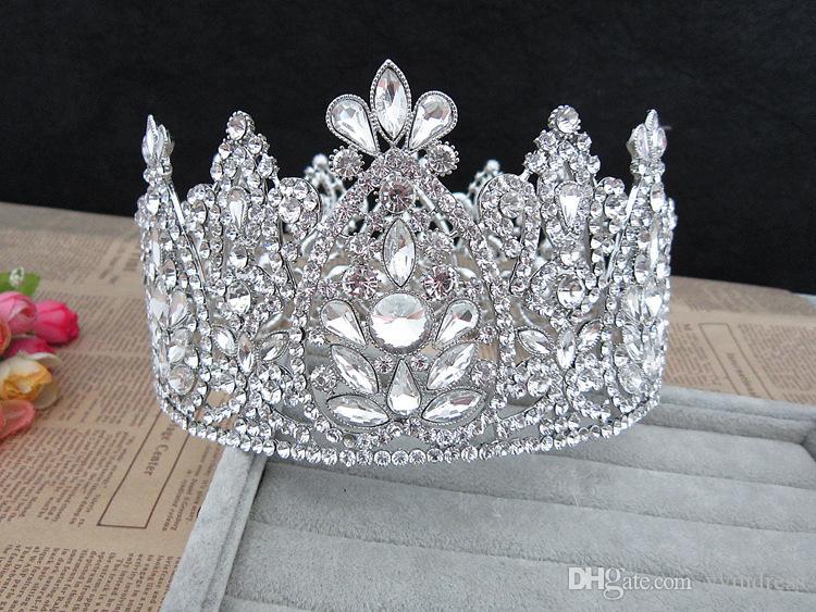 تاج الزفاف الفاخر الكبير بلورات حجر الراين الملكي التيجان ملكة الزفاف الأميرة كريستال الباروك حفلة عيد الميلاد التيجان كوينسيانير