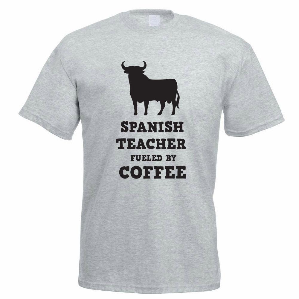 c68910cd SPANISH TEACHER FUELED BY COFFEE - School / Spain / Funny Themed Men's T- Shirt