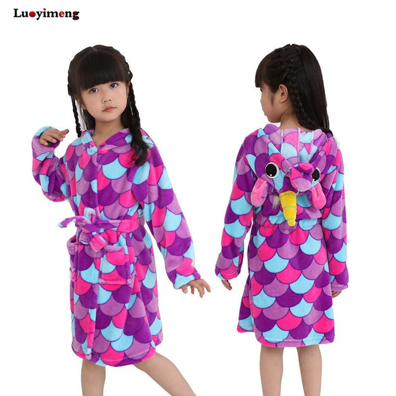 d76d4aa4e5 New Children S Bathrobes Purple Unicorn Boys Bath Robe For Girls Flannel  Animal Robes Dressing Gown Kids Home Clothes Bath Towel Footie Pajamas For  Kids ...