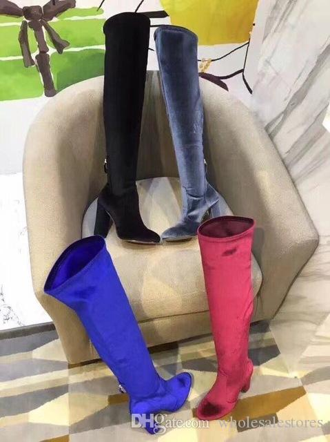 green gray wine blue autumn and winter sexy round toe high heel 10cm women pumps slip on over the knee long boots