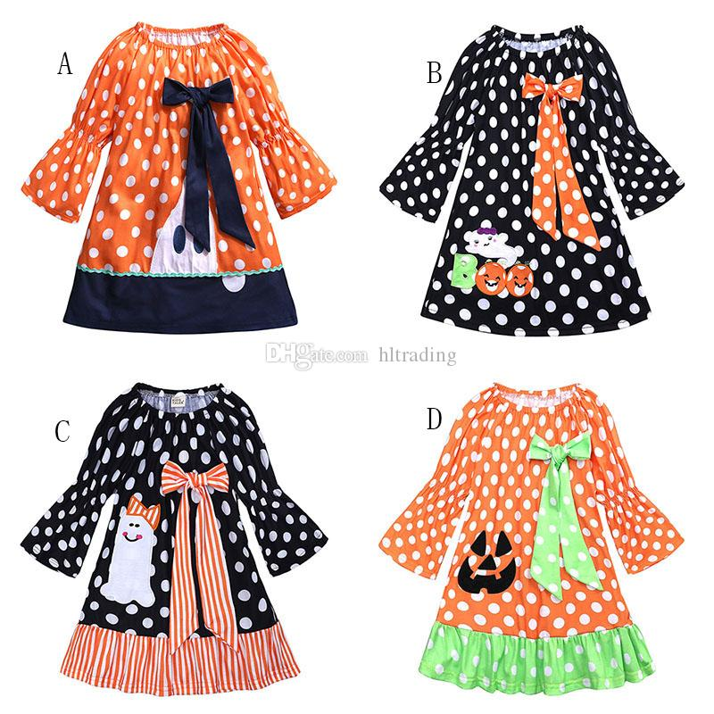 b5507bff67a1 2019 Halloween Baby Girls Ghost Pumpkin Dress Children Dot Print Bow ...