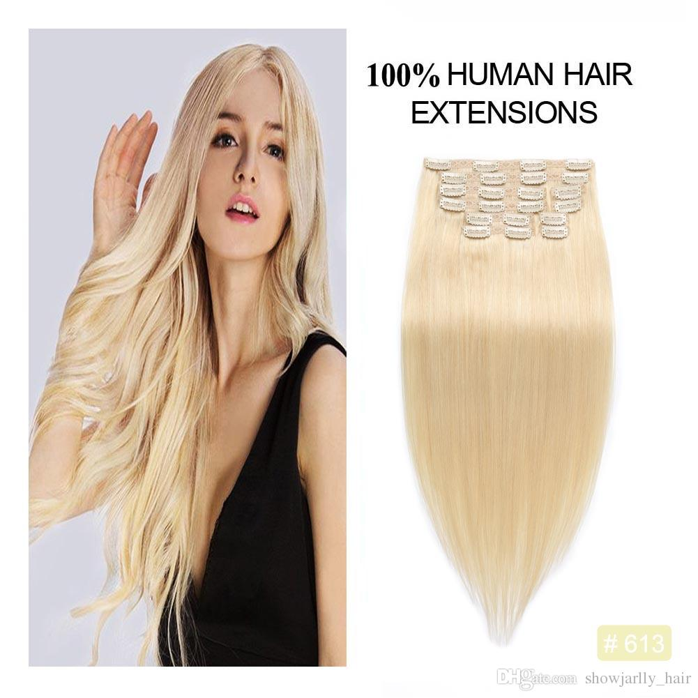 Bleached Blonde Full Head Clip In Human Hair Extensions Seamless