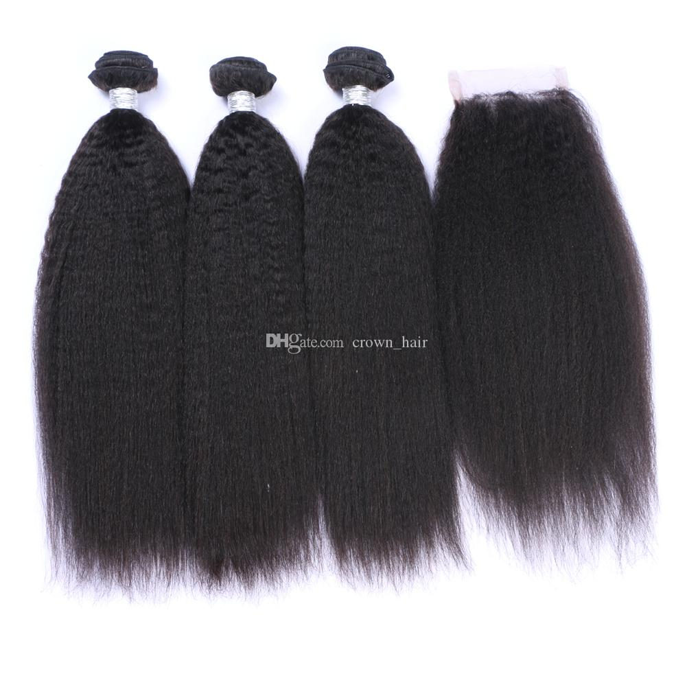 Peruvian Kinky Straight Human Hair 3Bundles Weaves With Top Closure Natural Color Coarse Yaki Human Virgin Hair Extensions With Lace Closure