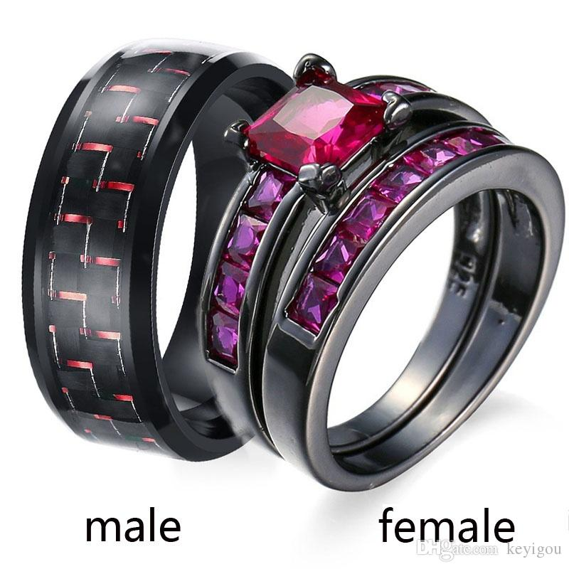 2019 Sz6 12 Two Rings Couple Ring His Hers Ruby Black Gold Plated