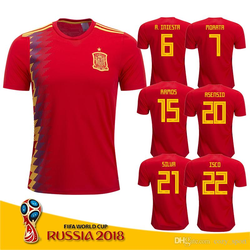 baa99b38c7d 2019 Spain Home Red Soccer Jersey 2018 World Cup Spain Home Soccer Shirt  2018  7 MORATA  22 ISCO  20 ASENSIO Football Uniforms Sales From  Cozy sport