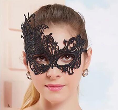 2018 Nueva Moda Sexy tipo Máscaras de Halloween Exquisito Encaje Media Máscara Para Las muchachas de la boda Negro blanco Opción