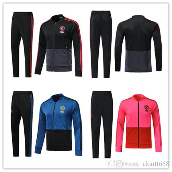 9db3e1eda 2018 2019 UTD Tracksuit Survetement Set POGBA Football JACKET Kit Soccer  Chandal 18 19 LUKAKU United Jacket Training Pant Sweater Suit Athletic Wear  Online ...