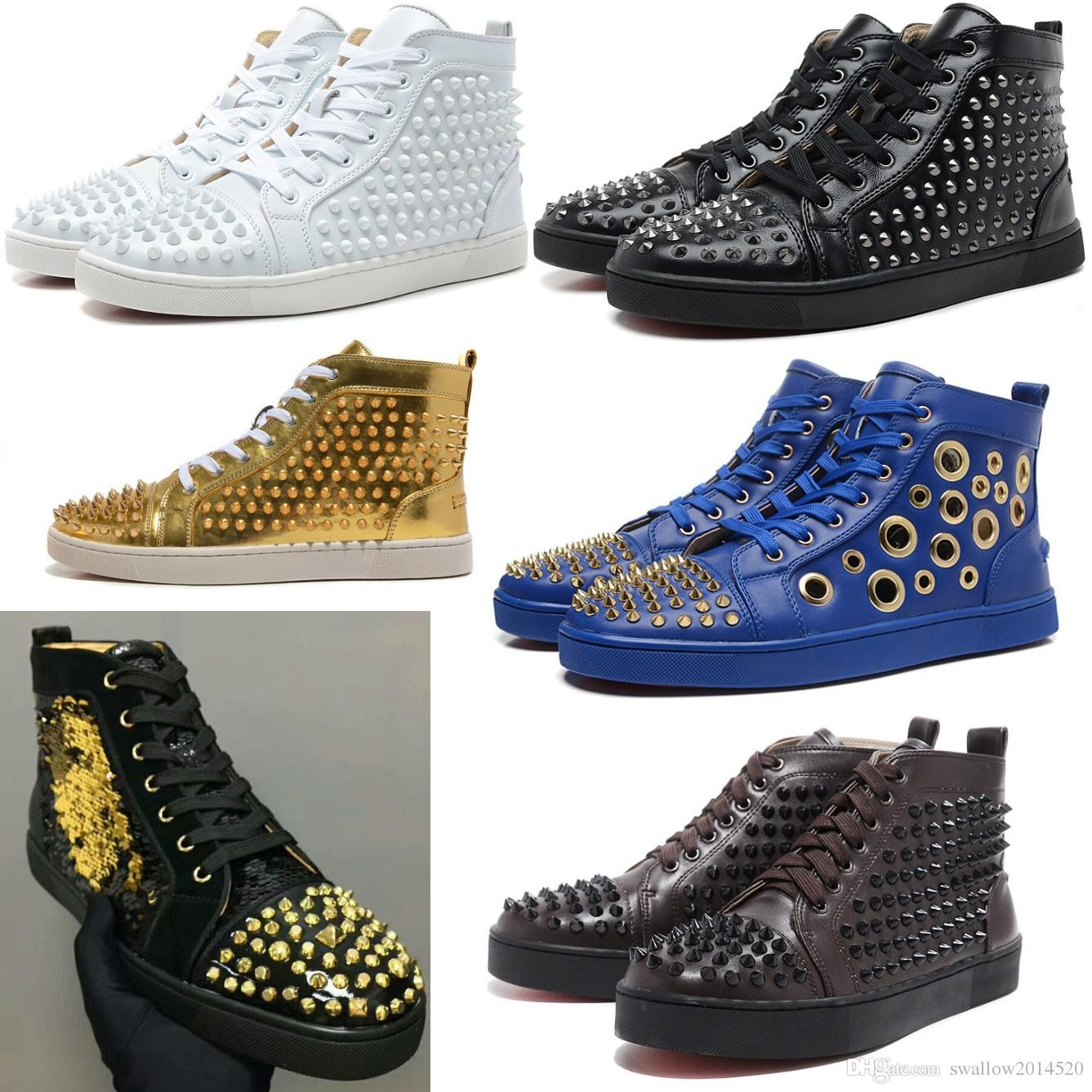 b7a7137a8fa3 20 Styles Fashion Designer Brand Studded Spikes Flats Shoes Rivet ...