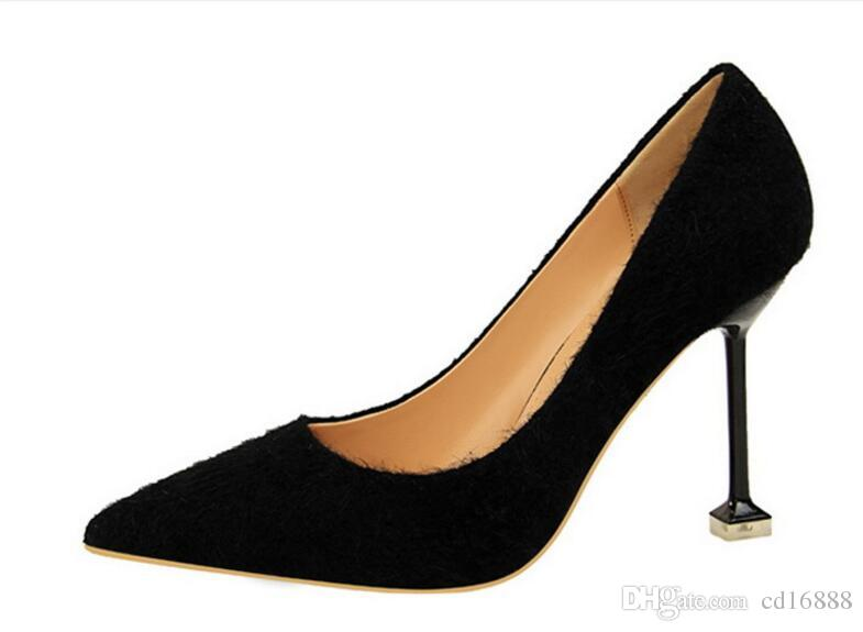 European and American style sexy fashion shoes women high heels 2018 spring pointed was thin Fine heel shoe shallow mouth women pumps shoes
