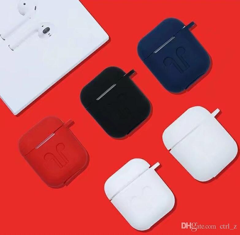 Für Apple AirPods Fall Silikon Shock Proof Schlüsselanhänger Schutzhülle + Strap für Apple AirPods Silikon Ohrbügel Anti verloren