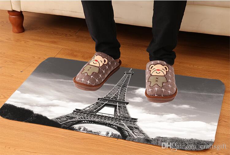 Creative Eiffel Tower Pattern Bath Mat Kitchen Bathroom Floor Door Mat Super Absorbent Non-slip Soft Flannel Bath Mats 80*50CM