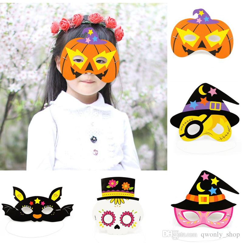 Halloween Cartoon Witch Face.Cartoon Half Face Mask Witch Bat Eye Masks Buccaneer Paper Masks For Kids Baby Halloween Party Favors Supplies