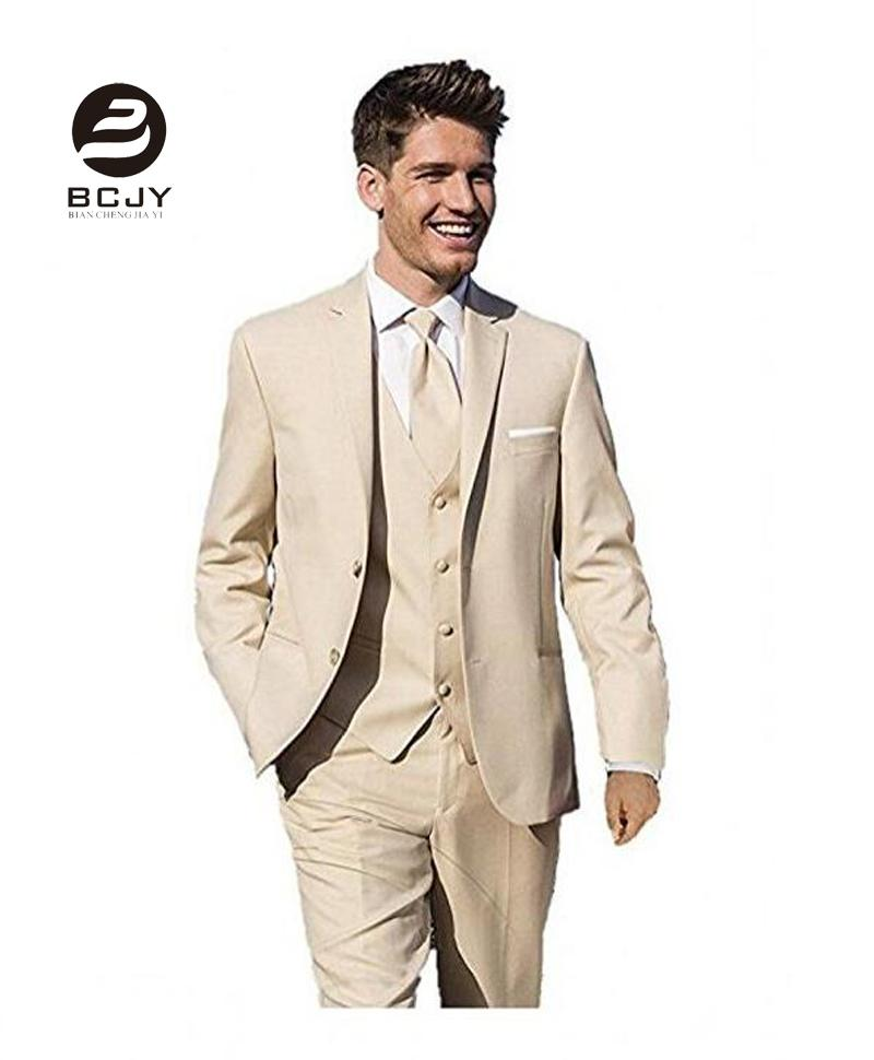 2018 Khaki Wedding Suits Jacket Vest Pants Slim Fit Men Suits Custom ...
