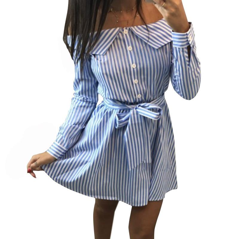 27080042c07 Women Striped Shirt Dress 2019 Sexy Off Shoulder Strapless Mini Dress  Autumn Long Sleeve Sashes Dresses Casual Office Vestidos Cocktail Dresses  For Party ...