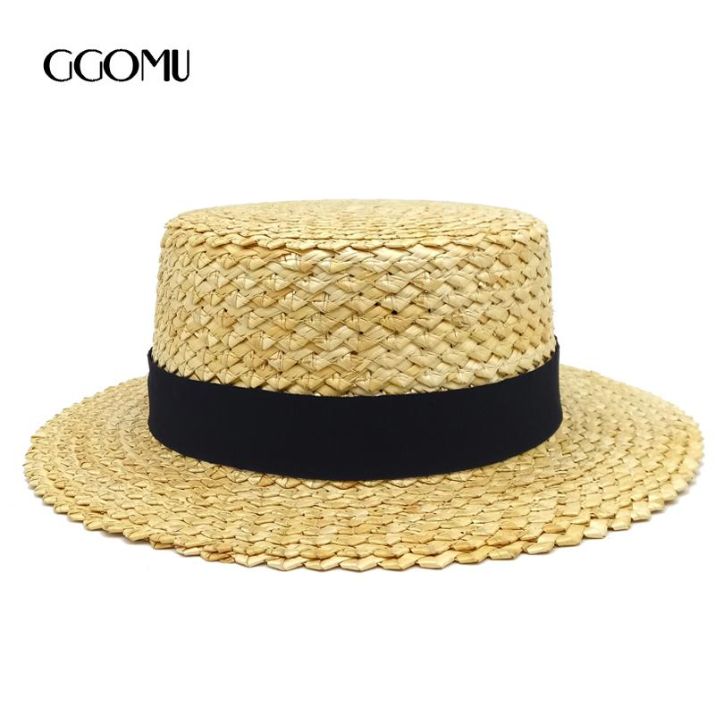 a1e10137840 Dropshipping Lady Boater Sun Caps Ribbon Round Flat Top Straw Fedora Panama  Hat Summer Hats For Women Straw Hat Snapback Gorras Fascinator Hats Tilley  Hat ...