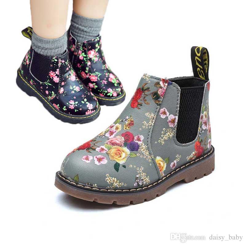 08b6c82789e91 Acheter Enfants Bottines Filles Garçons Mode Floral Imprimé Chelsea Bottes  Filles Martin Bottes Enfants Chaussures D hiver Chaussures   47 De  14.22  Du ...