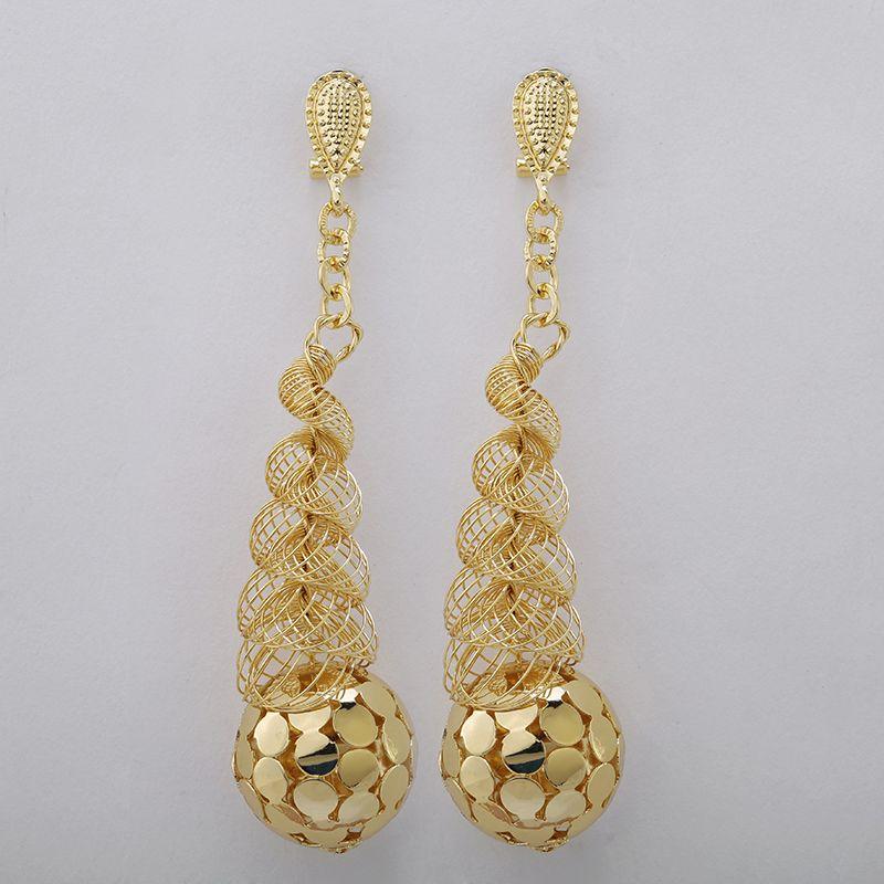 Dubai Pure Gold Color Jewelry Set 2017 Long Drop Dangle Earrings For Women  Copper Fashion Water Drop For Party Wedding Daily UK 2019 From Juemin 26ac00fd4ba7