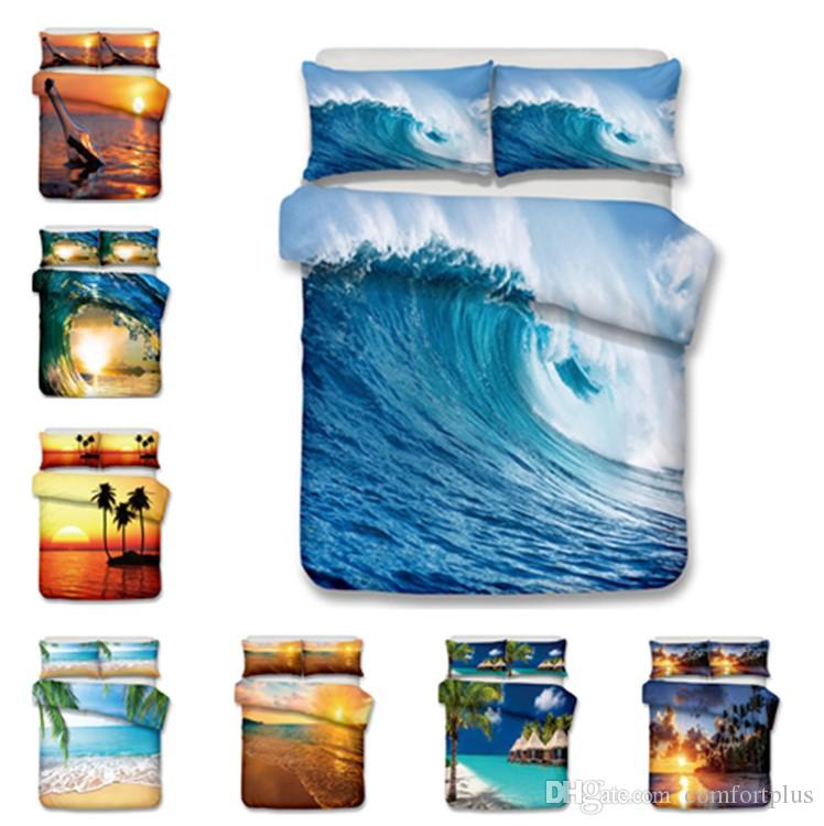 Sea Side Design Bedding Set 2PC/3PC Cosmetics Duvet Cover Set Of Quilt Cover & Pillowcase Twin Full Queen King Size