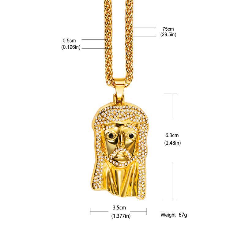 Hip Hop Jewelry 18K Gold Plated HipHop Cubic Zirconia Jesus Pendant Necklace Long Chain For Men Woman Rapper Rock Accessories