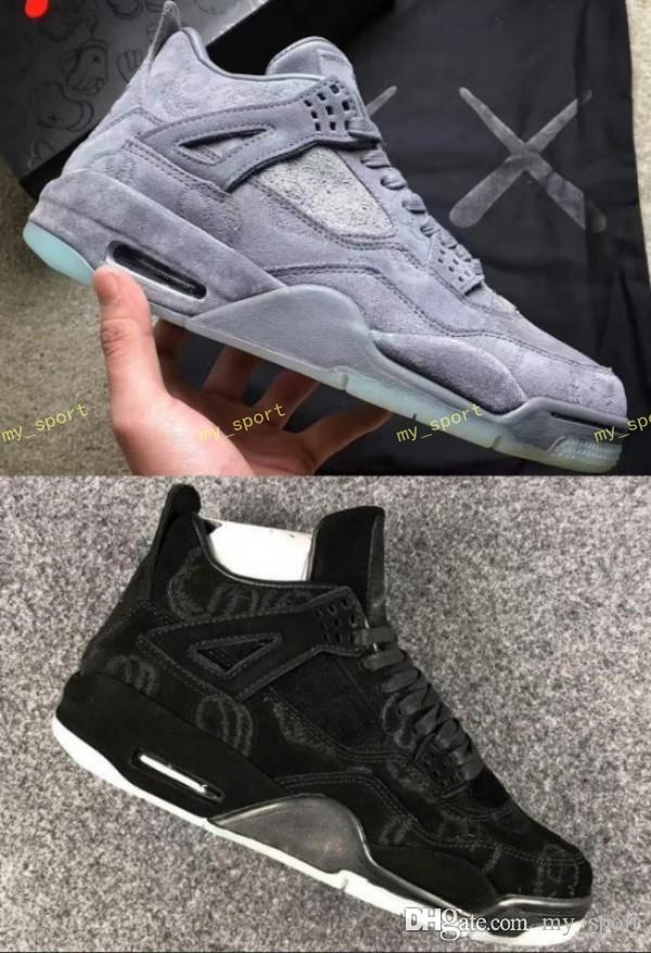 wholesale dealer 03209 85ab7 New 4 4s KAWS X Men Kaws XX Cool Grey Glow Basketball Shoes 4s KAWS Black  Sneakers High Quality Basketball Shoes For Men Kids Basketball Shoes From  My sport ...