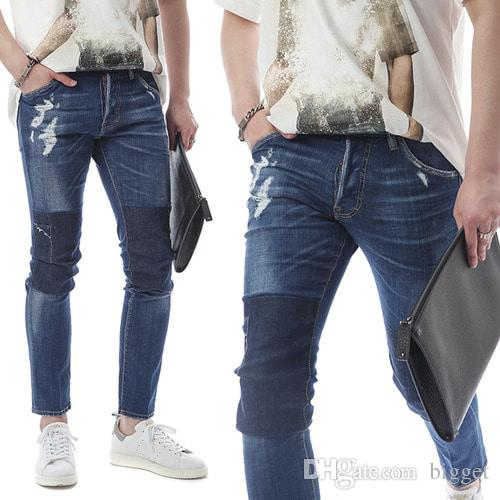 33e983d25c0 2019 Shadow Effect Worn Jeans Man Cool Guy Distressed Ripped Blue Wash  Vintage Long Denim Pants Men From Bigget