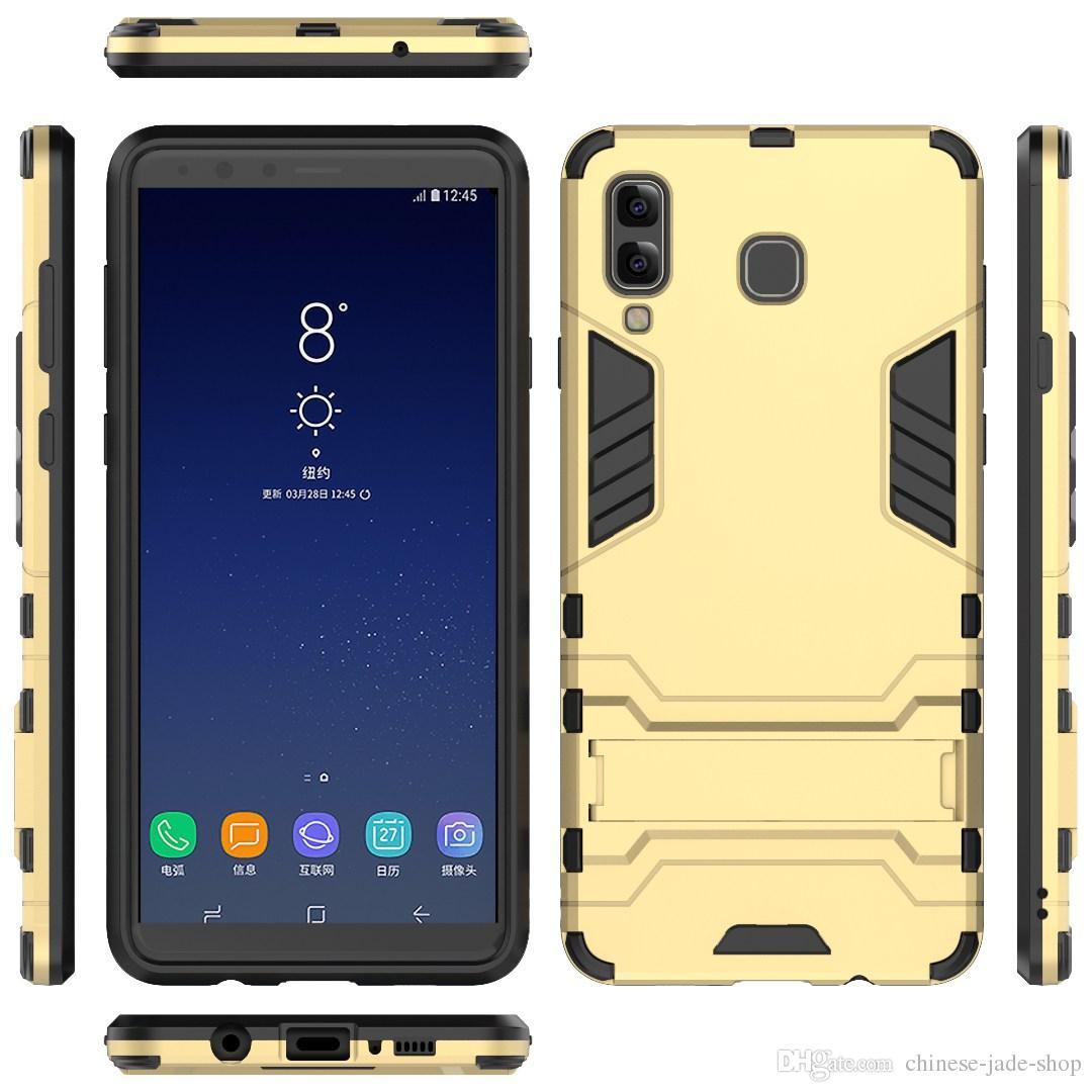 pretty nice 239fc 87814 For Samsung Galaxy A8 STAR A9 STAR J4 J6 J8 J3 2018 J7 2018 A6 A6 PLUS  Hybrid KickStand Anti Shock Defender Armor Case TPU PC cover 170PCS/