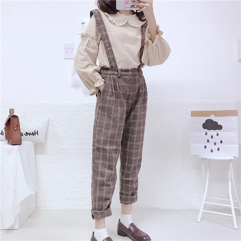 7852b9e4a8 2019 Vintage Jumpsuits Women Korean Leisure Street Suspender Wide Leg Pants  Japanese Cute Girl Elastic Waist Casual Plaid Overalls From Vikey16