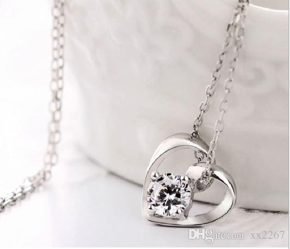 Fashion women crystal love heart necklace pendant S925 sterling silver