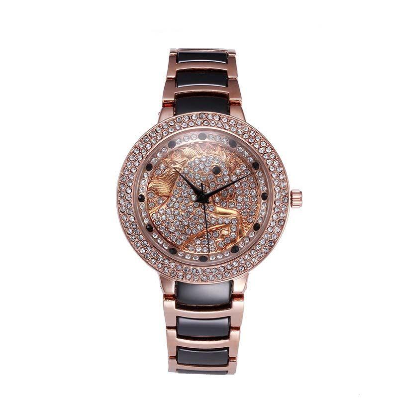 b5668815aa9 Compre O Cavalo Mulheres Relógios Feminino Rose Gold Assista Moda Borboleta  Diamante Preto De Quartzo Relógio De Cerâmica Relogio Feminino De Zqy3496