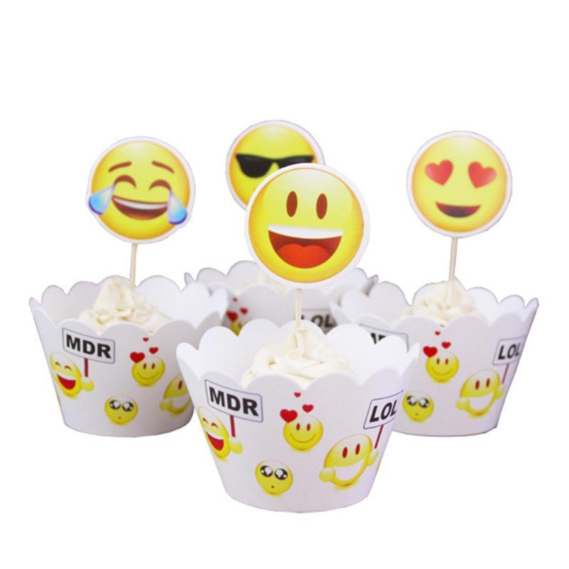 Grosshandel 24 Stucke Emoji Ausdruck Kuchenverpackungen Kuchen Topper