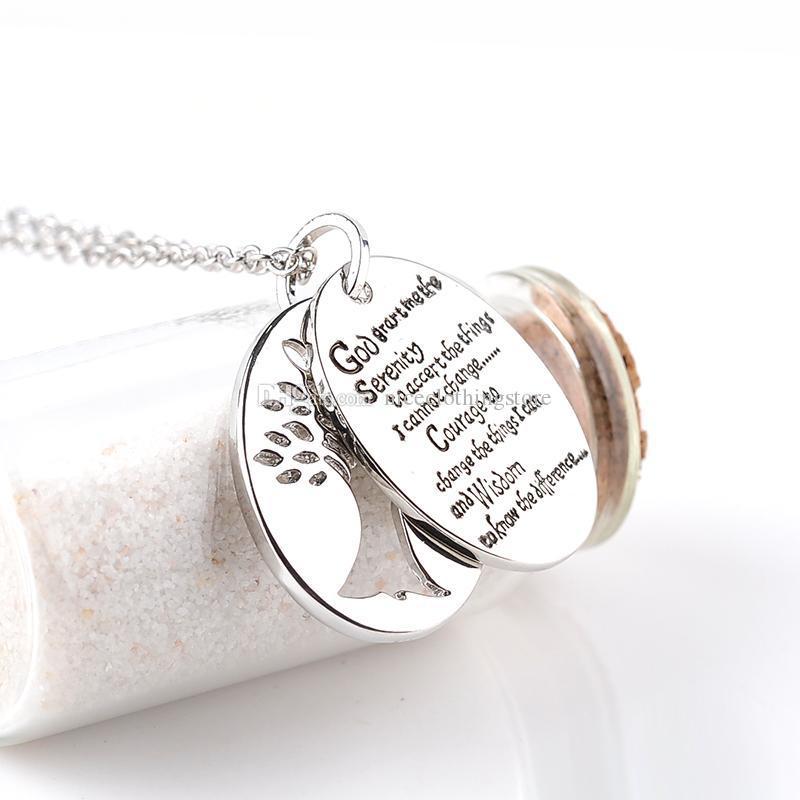 Рука Штампованные Английская Библия Безмятежность Молитва Шарм Ожерелье Женщины Мужчины Молитва Ювелирные Изделия Дерево Жизни Подвески Ожерелья