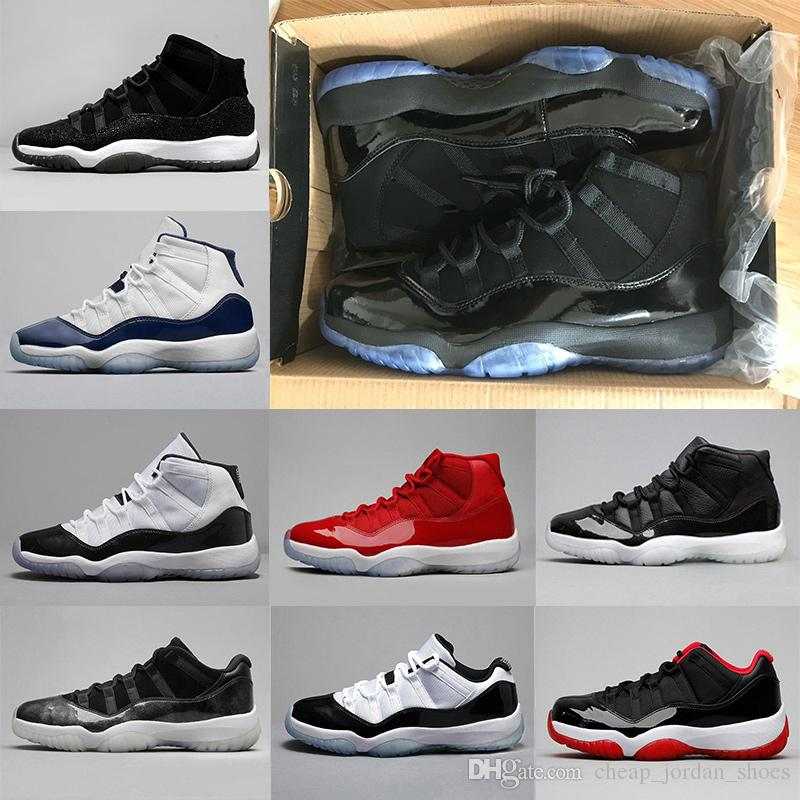 11 11s Blackout Basketball Shoes Men Women Prom Night Gym Red Midnight Navy  Low Bred Concord Barons Space Jam Sneakers Us 5.5 13 Mens Sneakers  Basketballs ...