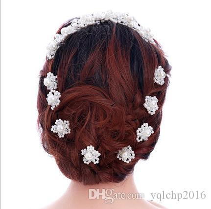 Bride U type Pearl Flower hairpin, handmade beads, head Flower Pearl Wedding headwear wedding gown