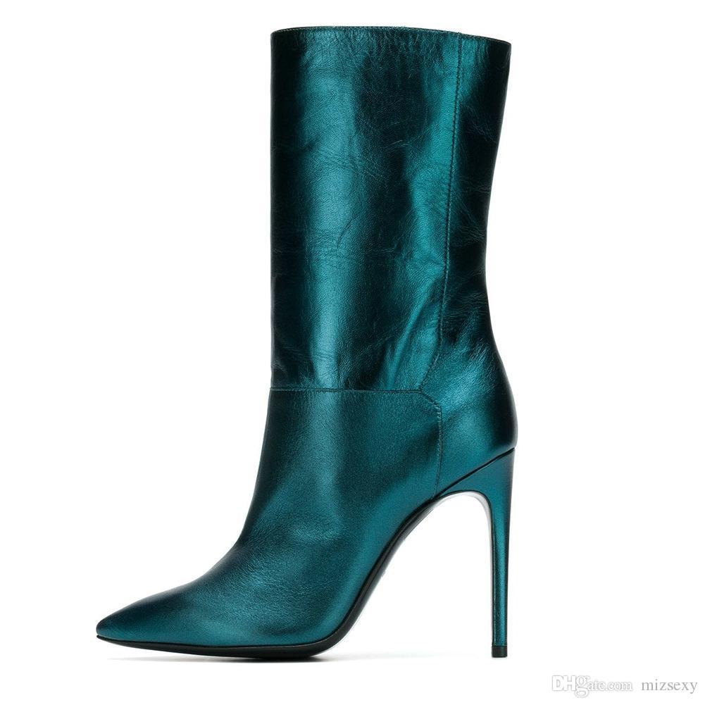 info for acd26 c5736 2018 nuovi stivali moda stivali tacco a spillo in pelle scarpe a punta a  punta tacchi alti stivali invernali scarpe da donna metà botas