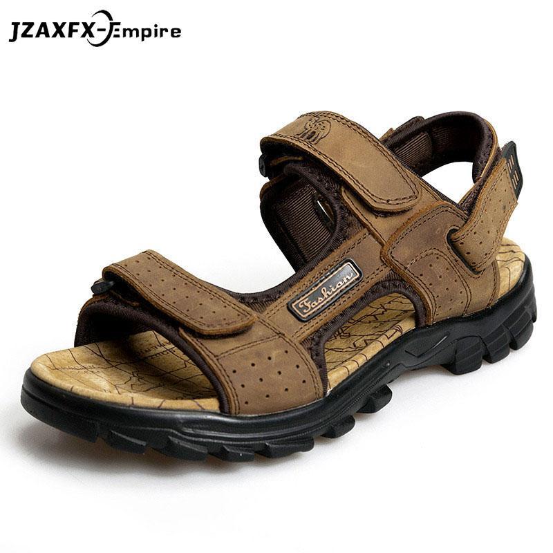 cf219de273e3f Top Quality Sandal 2018 Men Sandals Summer Genuine Leather Sandals Men  Outdoor Beach Shoes Breathable Walking Leather Jesus Sandals Black Wedges  From ...