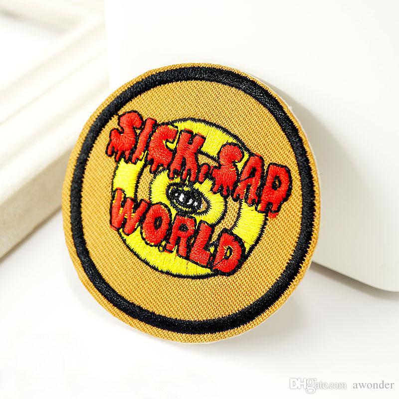 SAD MALADE WORLD Ecussons Brodé Sew Iron Applique Patch Badge Hippie DIY Vêtements Badges pour les vêtements Jeans Veste Sac Accessoires