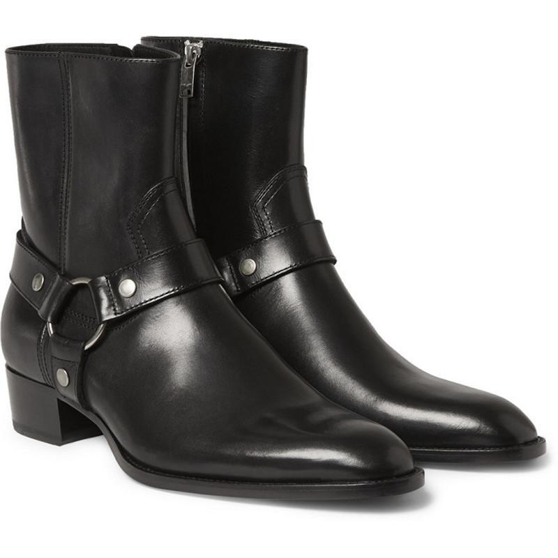 b6d011dda38 Compre Botines Hombre Zapatos Hebilla Correa Metal Decoración Zapatos Hombre  Zapatillas Botas Hombres Chaussure Superstar Zapatos Cuero Sapato A  170.68  Del ...