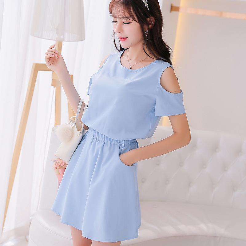 72cff5418da Summer Dress Women Clothing Short Sleeve Casual Dress Mini Dresses O Neck  Solid Elastic Waist Korean Cute Dress Clothes Party Dress Sequin Dresses  From ...