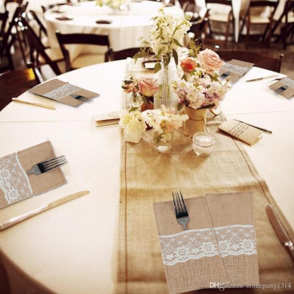 2018 50 unids Arpillera Cubiertos Titular de la tabla decoración Vintage Shabby Chic Yute de Encaje Vajilla Bolsas Tenedor Cuchillo Tenedor de Bolsillo Decoración Del Hogar